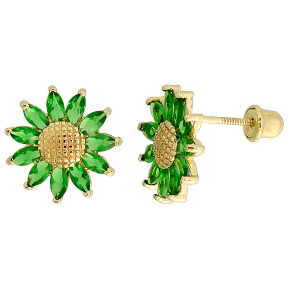 14k Yellow Gold 3/8 (10mm) tall Sunflower Stud Earrings, w/ Marquise Cut Emerald-colored CZ Stones""