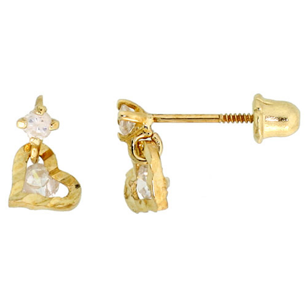 14k Yellow Gold 5/16 (8mm) tall Tiny Heart Stud Earrings, w/ Brilliant Cut CZ Stones""