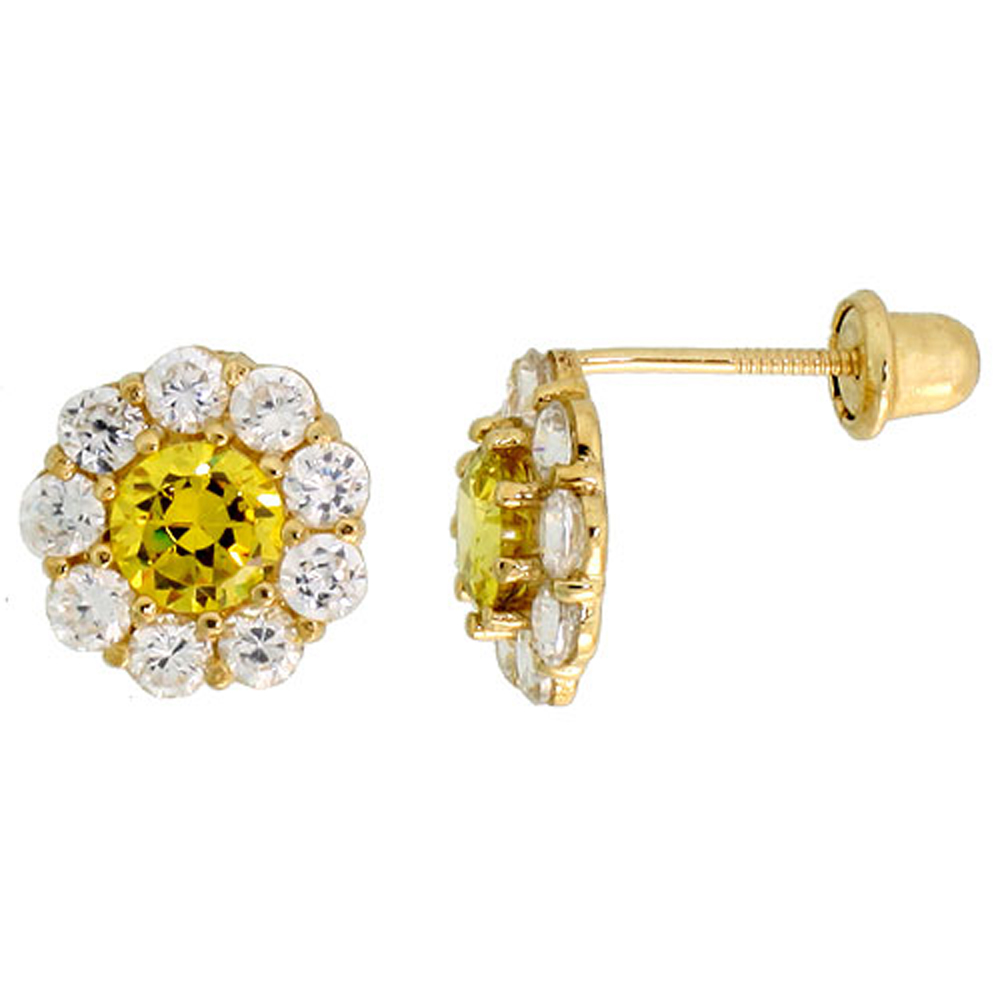 14k Yellow Gold 5/16 (8mm) tall Flower Stud Earrings, w/ Brilliant Cut Clear & Yellow Topaz-colored CZ Stones""