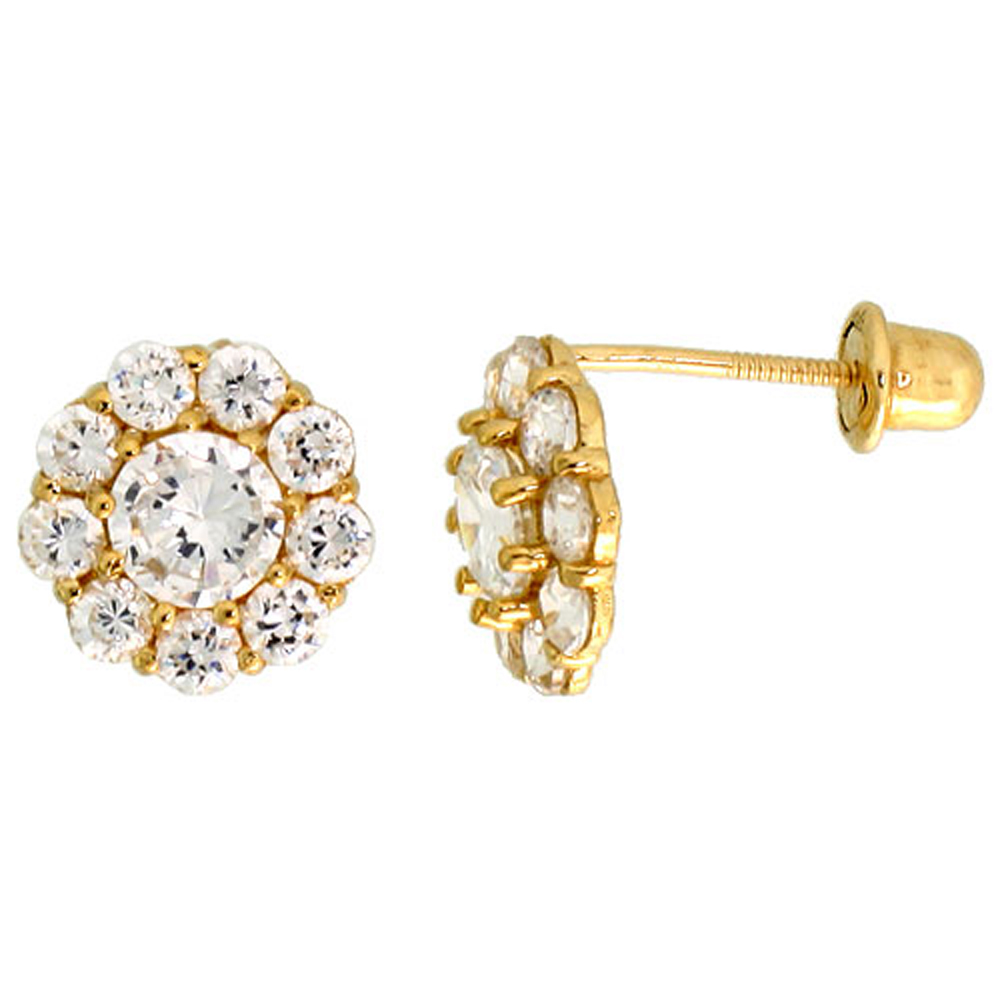 14k Yellow Gold 5/16 (8mm) tall Flower Stud Earrings, w/ Brilliant Cut CZ Stones""