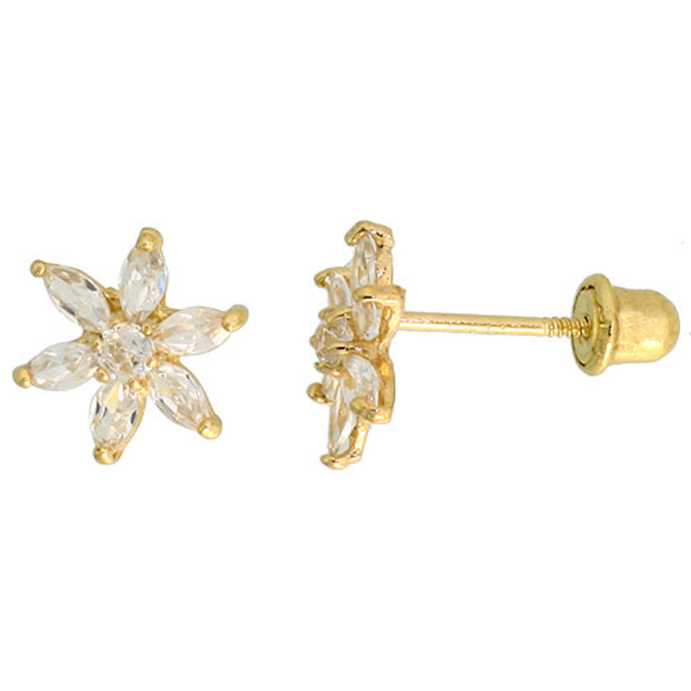 14k Yellow Gold 5/16 (8mm) tall Flower Stud Earrings, w/ Marquise Cut & Brilliant Cut CZ Stones""
