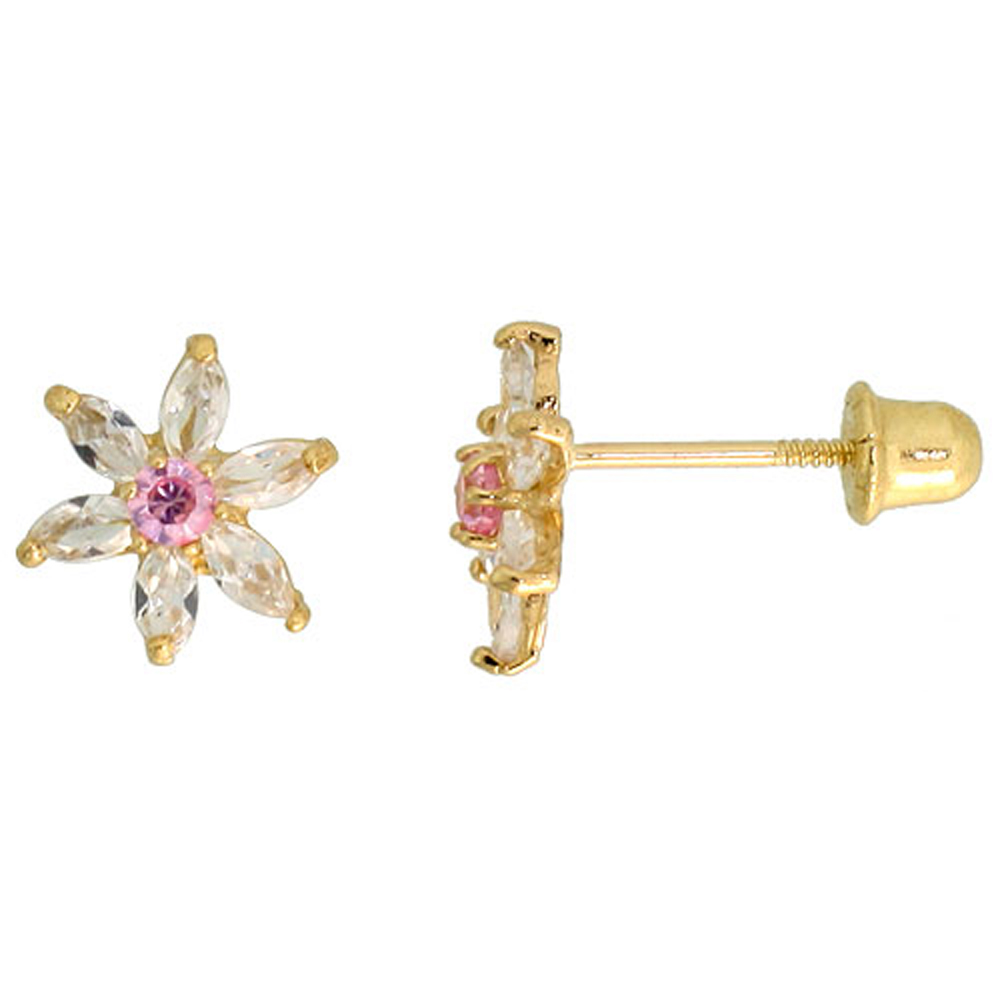 14k Yellow Gold 5/16 (8mm) tall Flower Stud Earrings, w/ Marquise Cut Clear & Brilliant Cut Pink Tourmaline-colored CZ Stones""