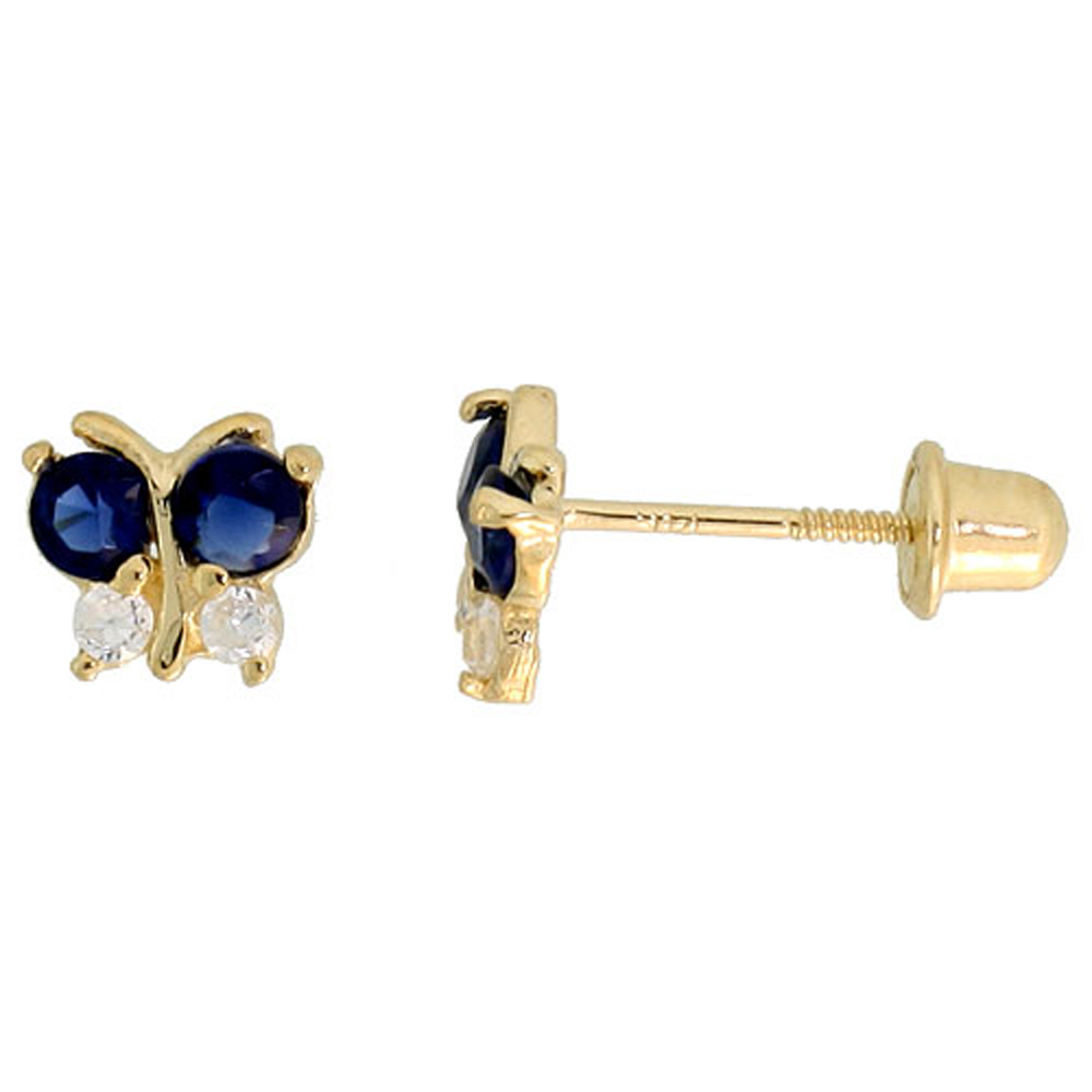14k Yellow Gold 3/16 (5mm) tall Tiny Butterfly Stud Earrings, w/ Brilliant Cut Clear & Blue Sapphire-colored CZ Stones""