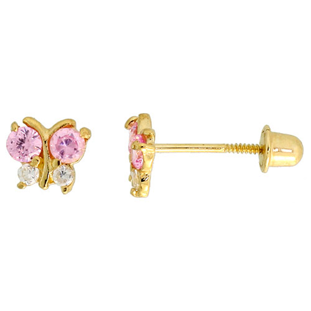 14k Yellow Gold 3/16 (5mm) tall Tiny Butterfly Stud Earrings, w/ Brilliant Cut Clear & Pink Tourmaline-colored CZ Stones""