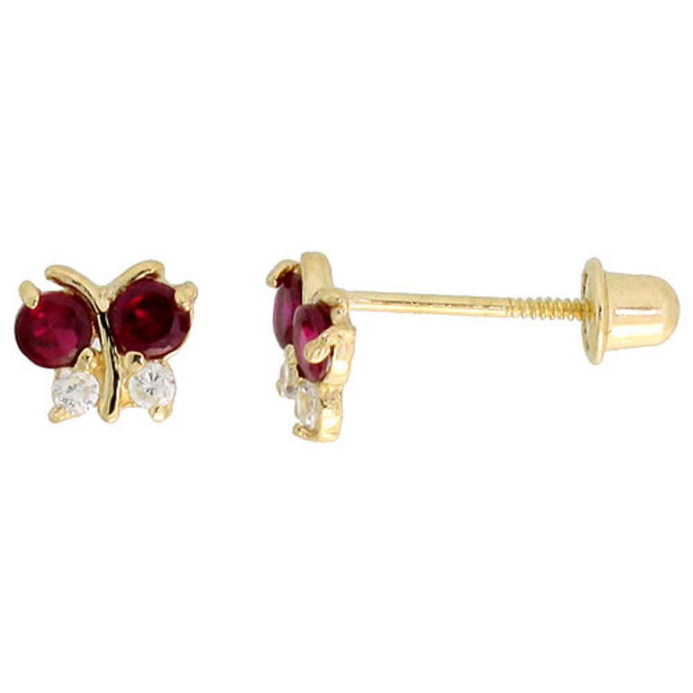 14k Yellow Gold 3/16 (5mm) tall Tiny Butterfly Stud Earrings, w/ Brilliant Cut Clear & Ruby-colored CZ Stones""