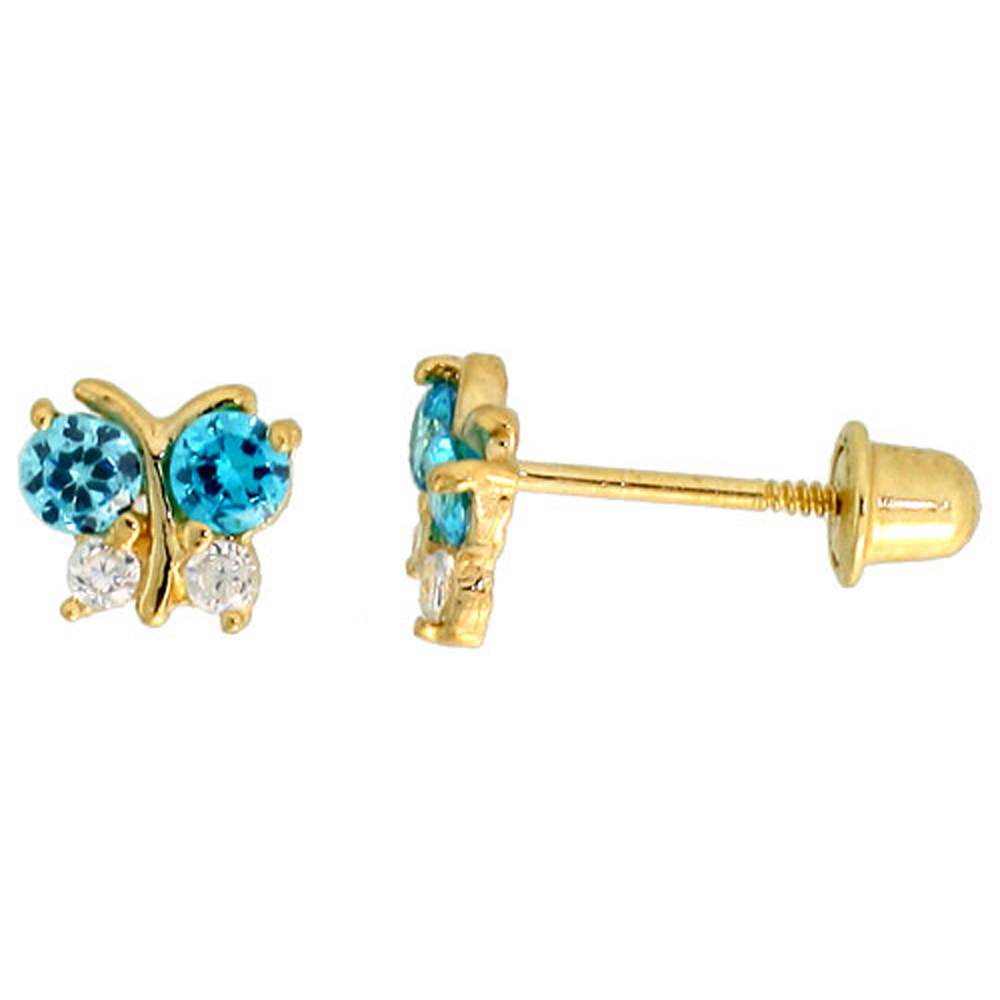 14k Yellow Gold 3/16 (5mm) tall Tiny Butterfly Stud Earrings, w/ Brilliant Cut Clear & Blue Topaz-colored CZ Stones""