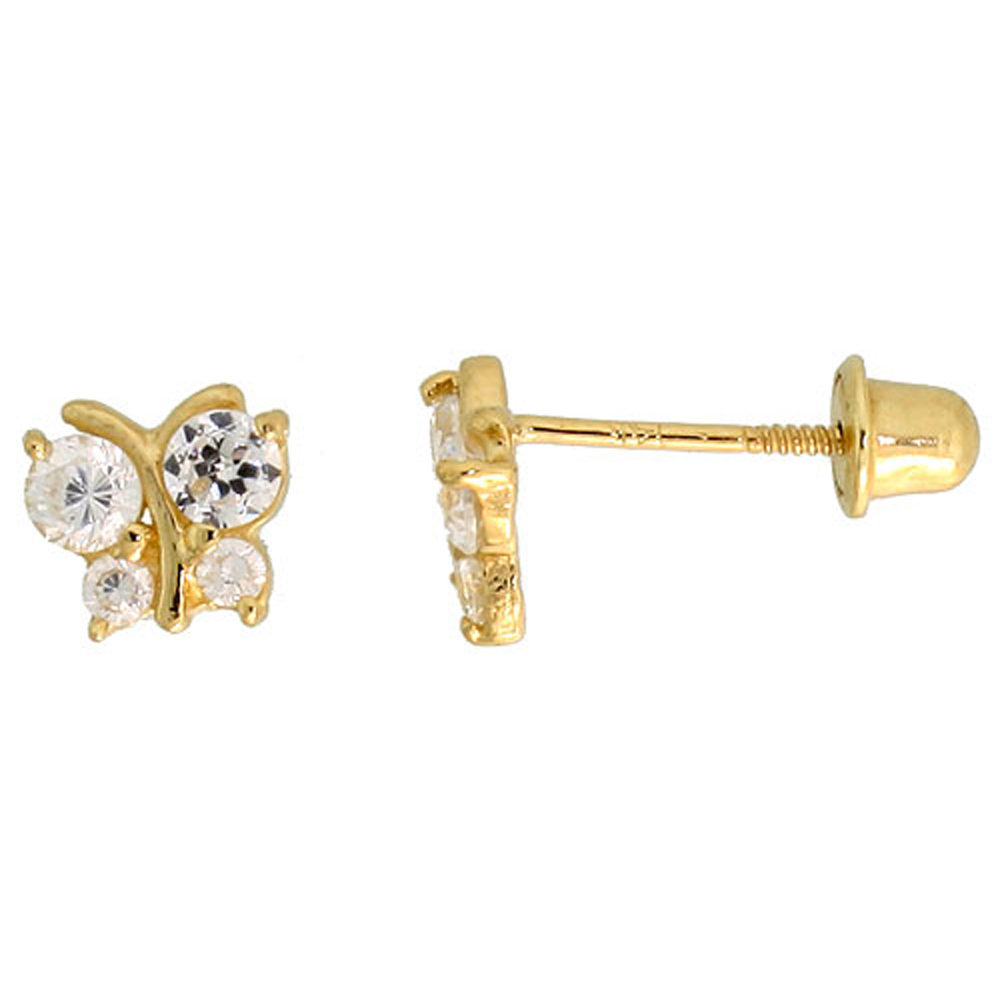 14k Yellow Gold 3/16 (5mm) tall Tiny Butterfly Stud Earrings, w/ Brilliant Cut CZ Stones""