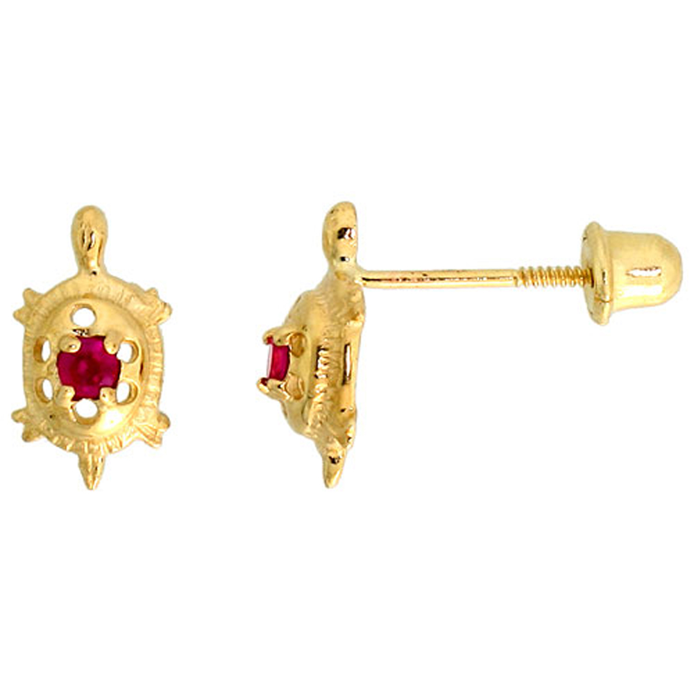 14k Yellow Gold 3/8 (9mm) tall Tiny Turtle Stud Earrings, w/ Brilliant Cut Ruby-colored CZ Stone""