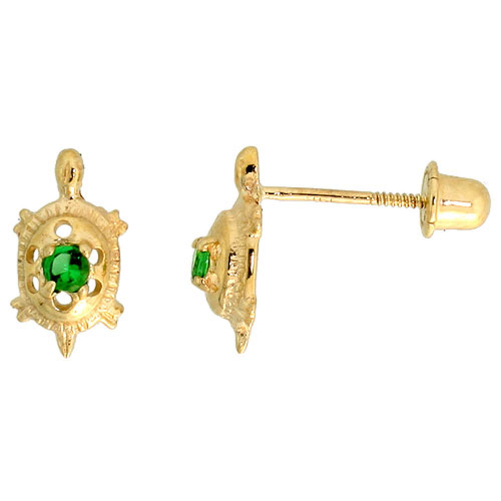 14k Yellow Gold 3/8 (9mm) tall Tiny Turtle Stud Earrings, w/ Brilliant Cut Emerald-colored CZ Stone""