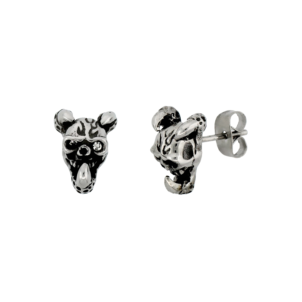 Stainless Steel Horned Skull Earrings, 1/2 inch
