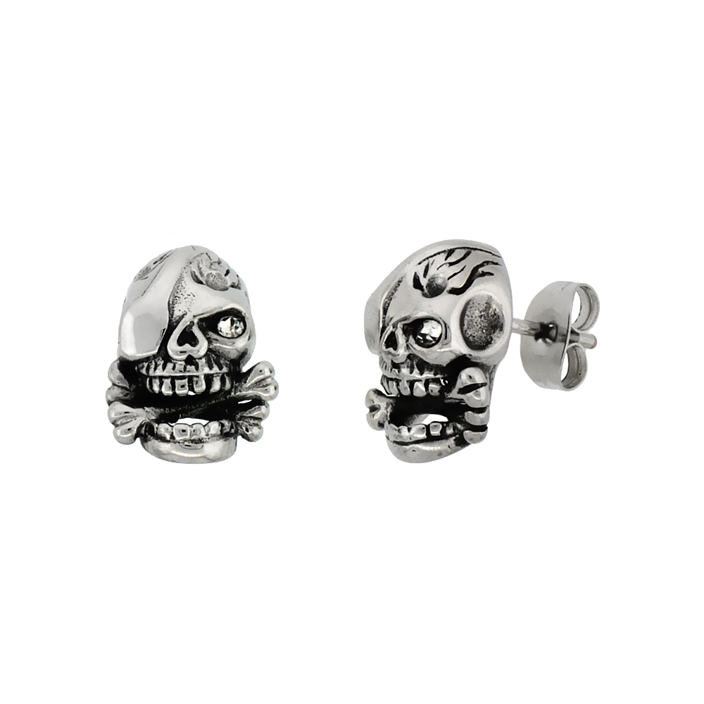 Stainless Steel One-Eyed Skull & Cross Bones Earrings, 1/2 inch