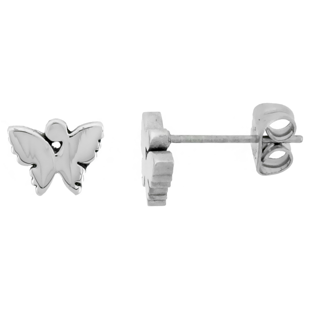 Small Stainless Steel Butterfly Stud Earrings, 1/4 inch