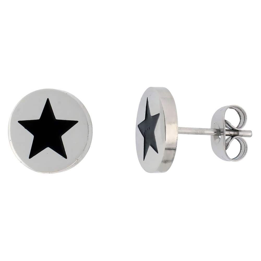 Stainless Steel Star Stud Earrings Black Enameled, 3/8 inch