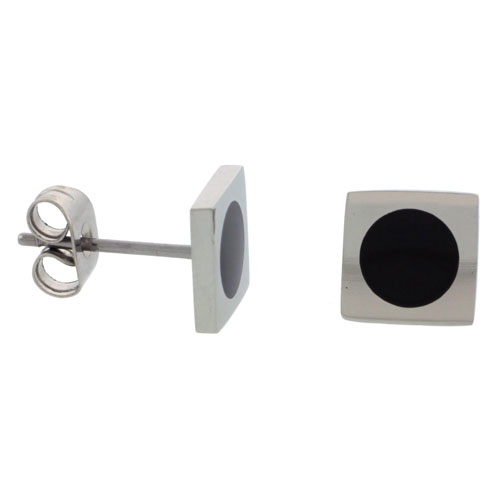 Stainless Steel Square Stud Earrings Round Black Dot , 5/16inch