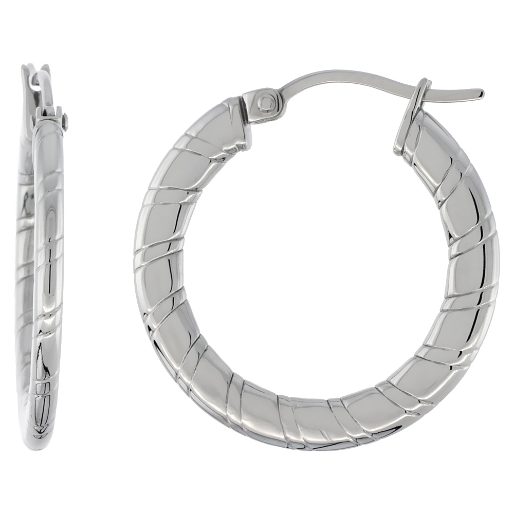 Stainless Steel Flat Hoop Earrings 1 inch Round 2 mm Thin Tube Candy Stripe Pattern Light Weightt