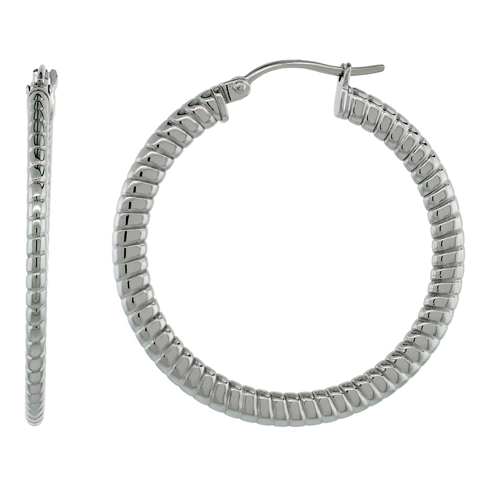 Stainless Steel Hoop Earrings 1 1/2 inch 4 mm Flat Tube Spiral Pattern Light Weight