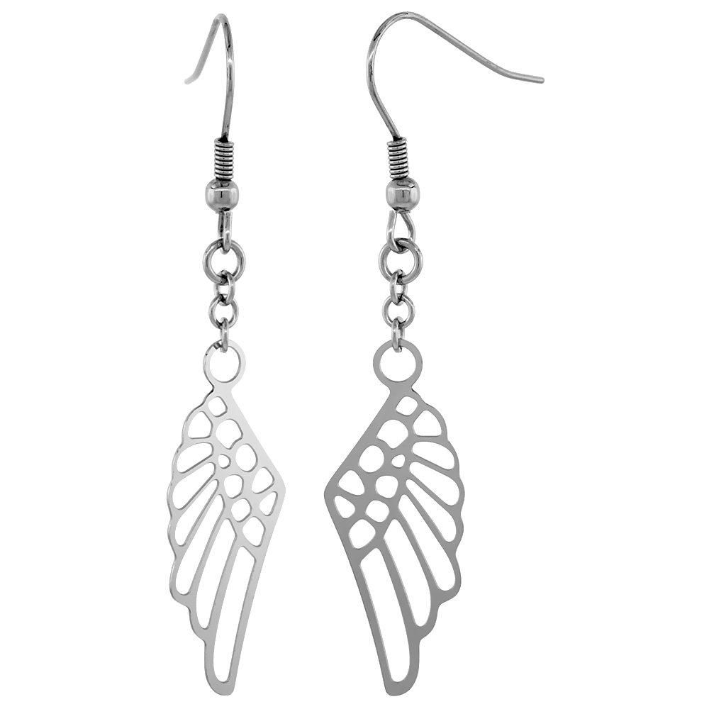 Stainless Steel Angel Wings Dangle Earrings 2 1/4 inch long