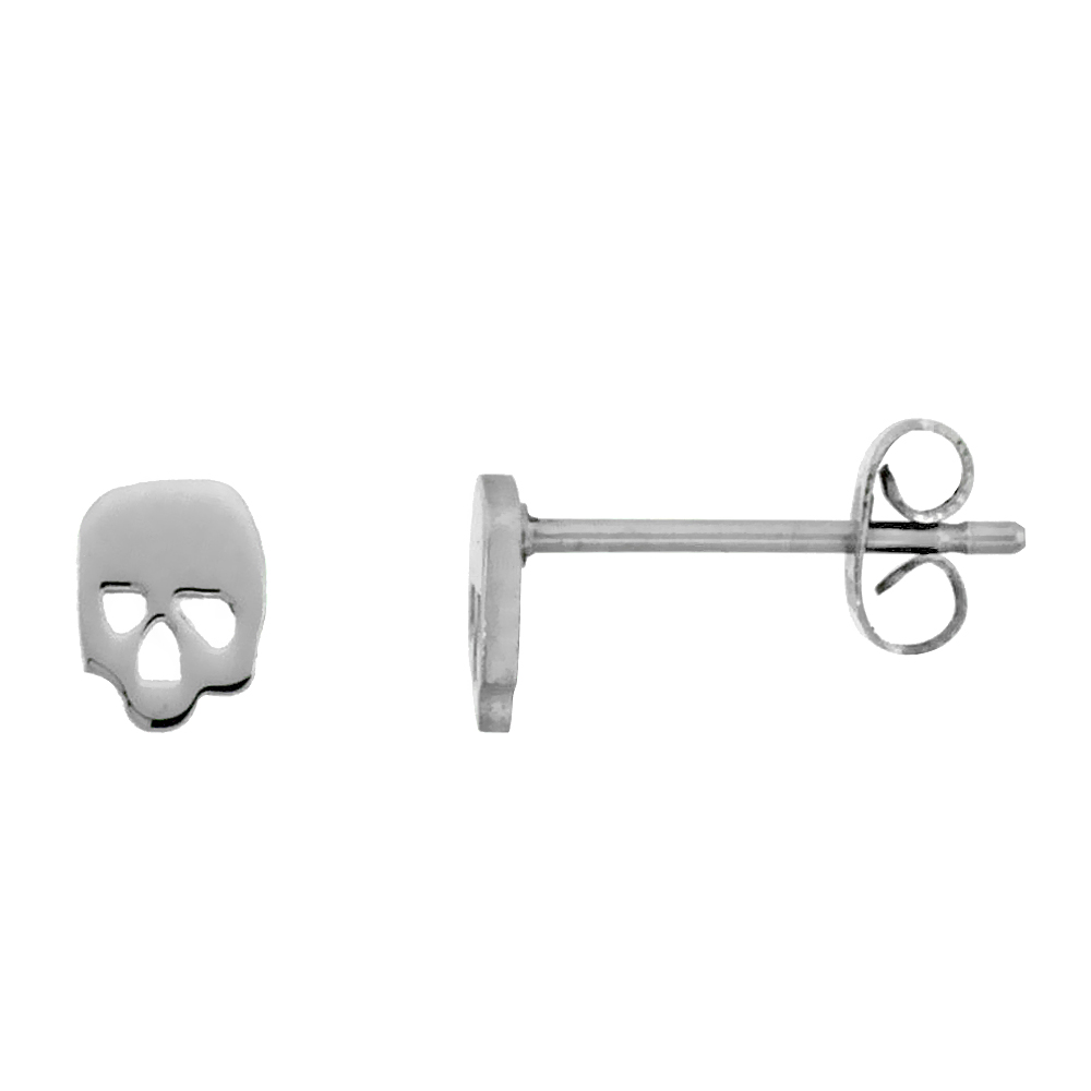 Stainless Steel Tiny Skull Stud Earrings 1/4 inch round