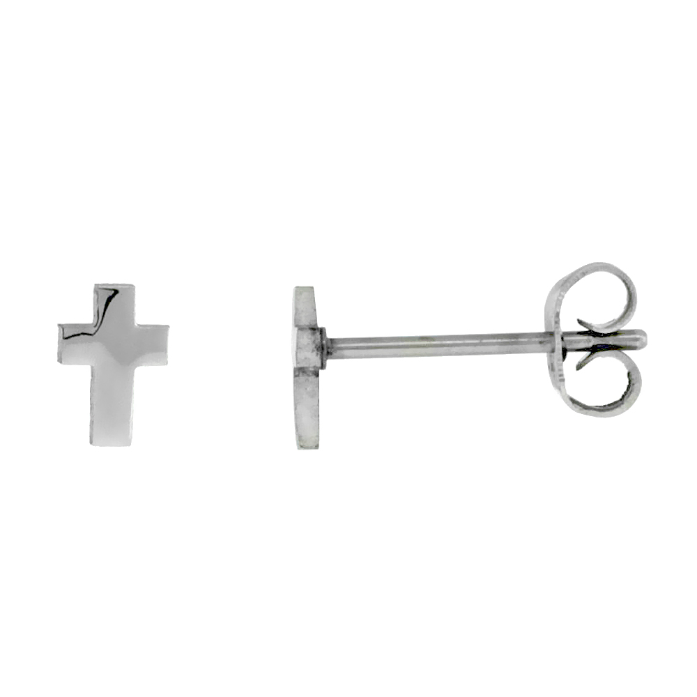 Stainless Steel Very Tiny Cross Stud Earrings 1/4 inch