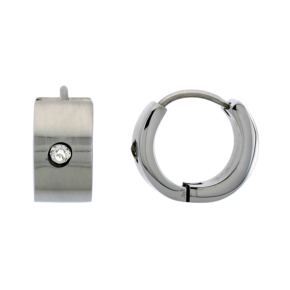 Stainless Steel Huggie Earrings with White Crystal Brushed Finish 1/2 inch Diameter