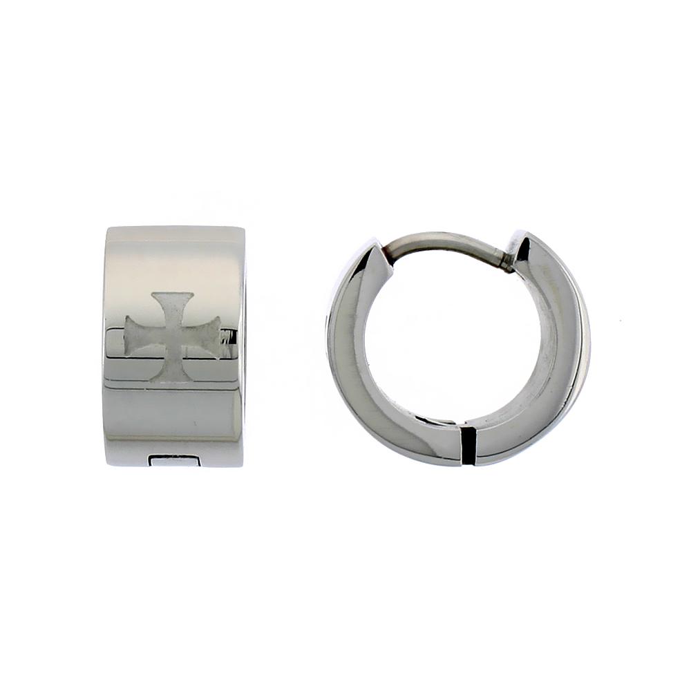 Stainless Steel Huggie Earrings Etched Maltese Cross 1/2 inch Diameter