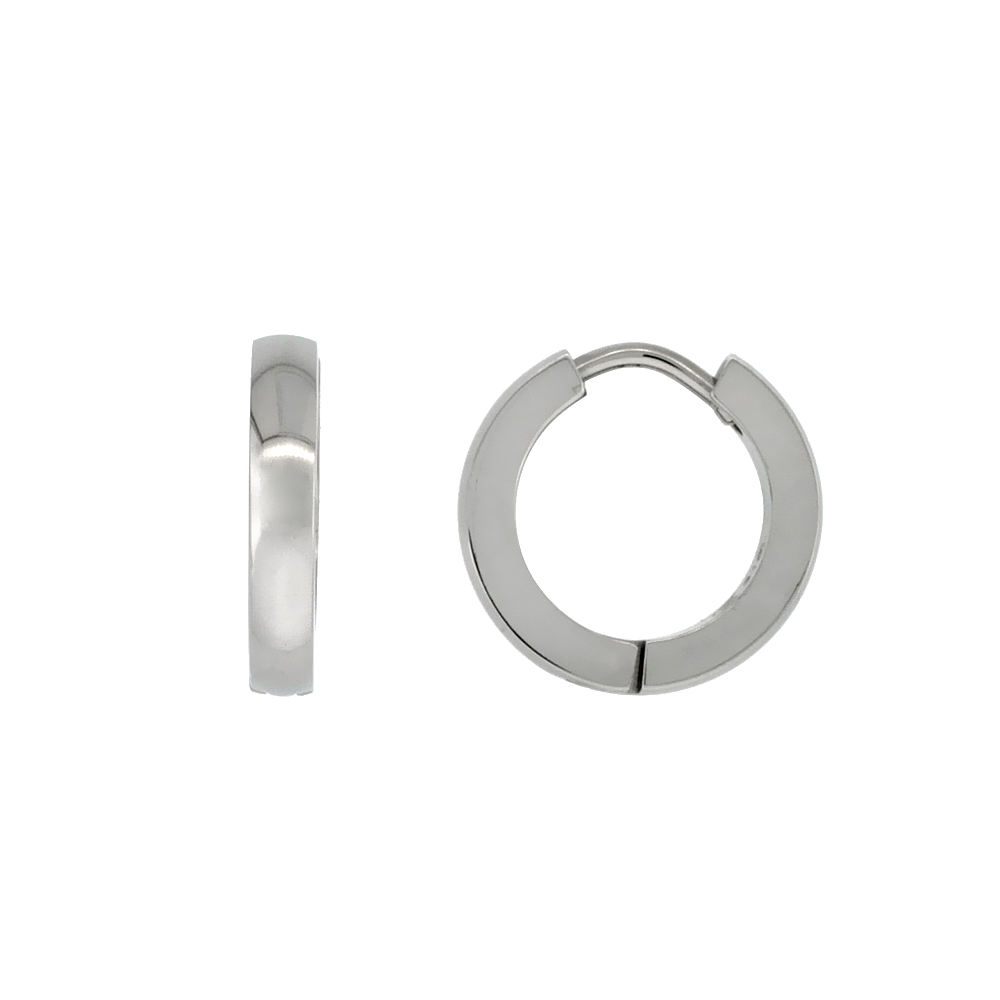 Stainless Steel Plain Thin Huggie Earrings Rounded Brushed Finish, 1/2 inch diameter