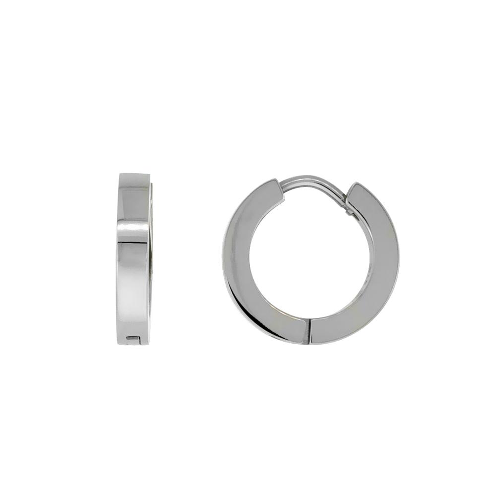 Stainless Steel Thin Plain Huggie Earrings Square Edge, 1/2 inch diameter