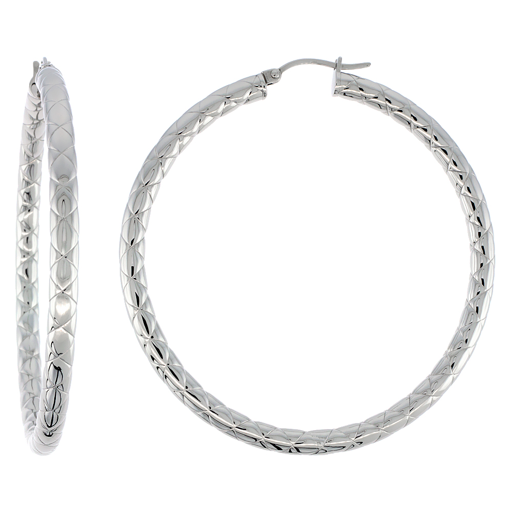 Surgical Steel Hoop Earrings 2 1/4 inch Round 4 mm wide Zigzag Pattern Light Weightt
