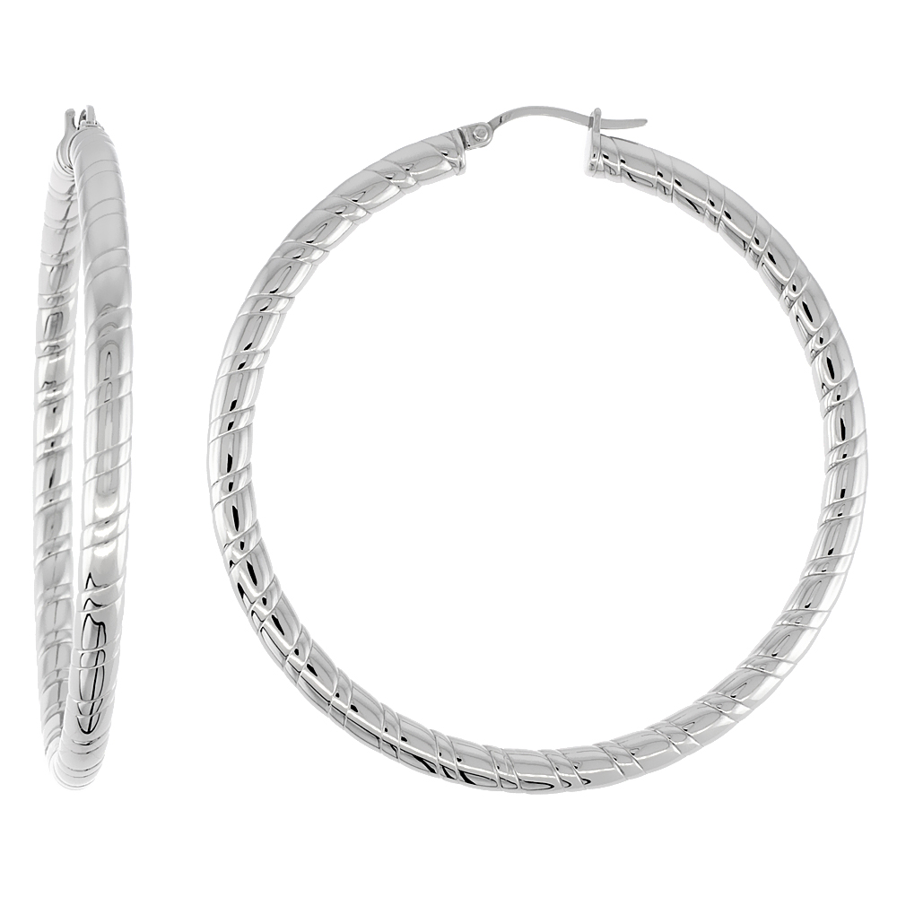 Surgical Steel Hoop Earrings 2 1/4 inch round 4 mm wide Candy Stripe Pattern Light Weightt