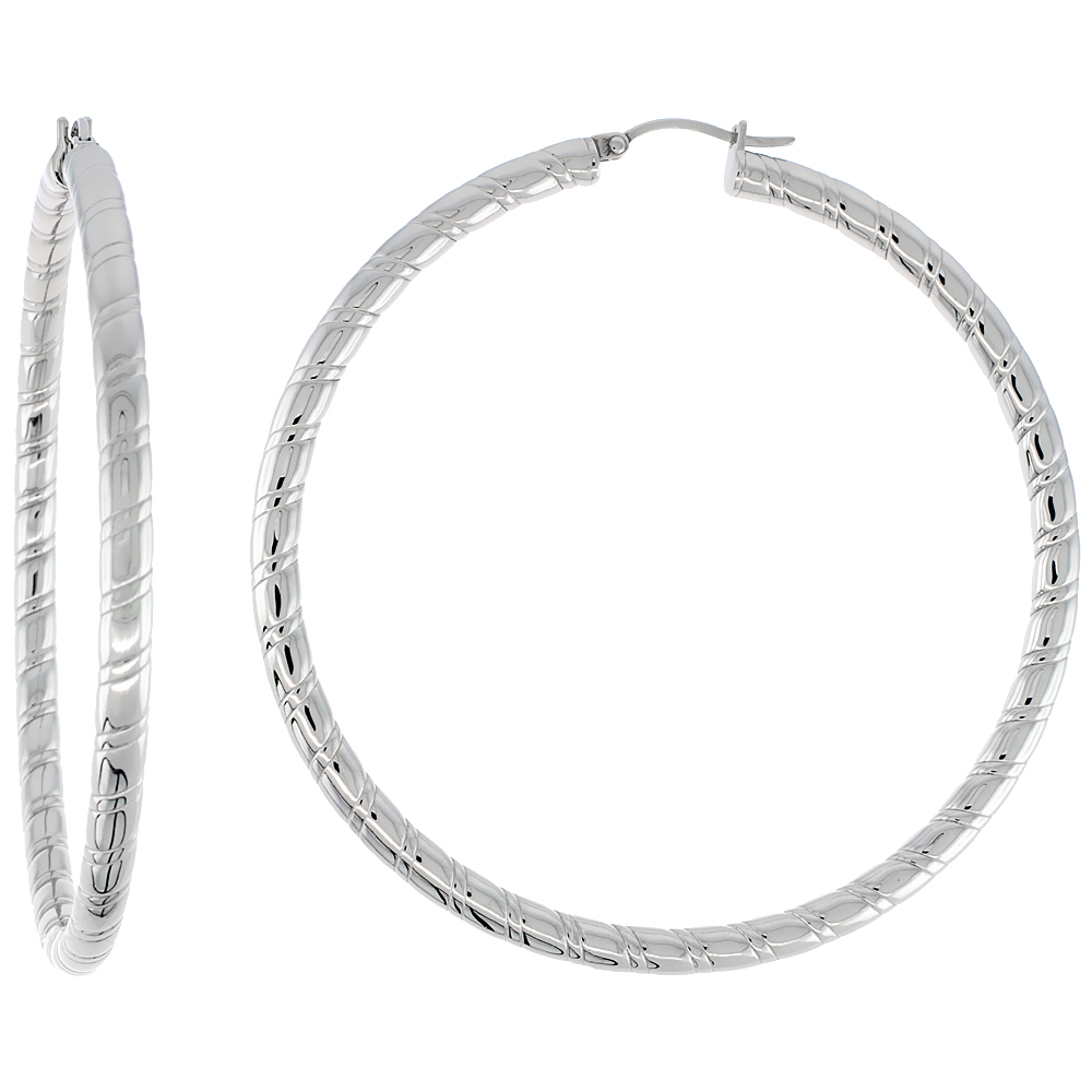 Surgical Steel Tube Hoop Earrings 2 3/4 inch round 4 mm wide Candy Stripe Pattern, feather weight