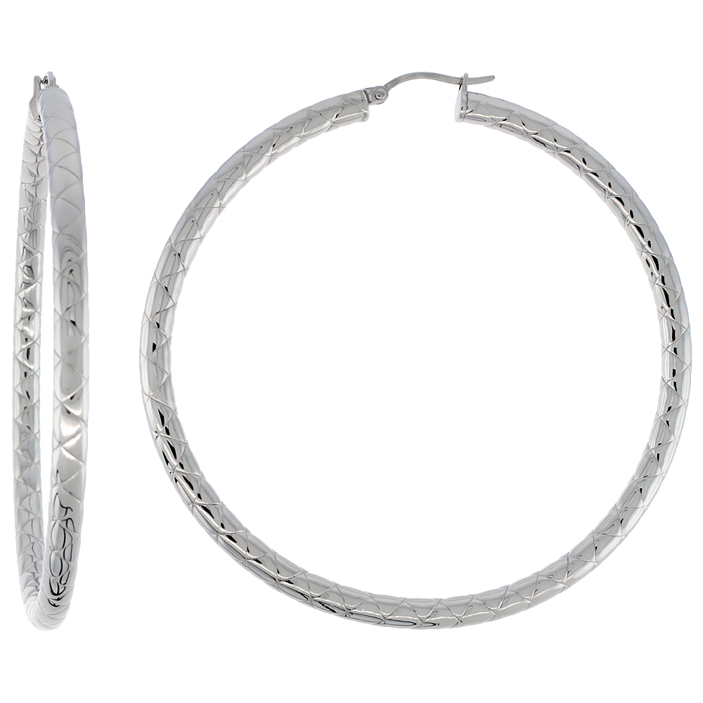 Surgical Steel Hoop Earrings 2 3/4 inch Round 4 mm wide Zigzag Pattern Light Weightt
