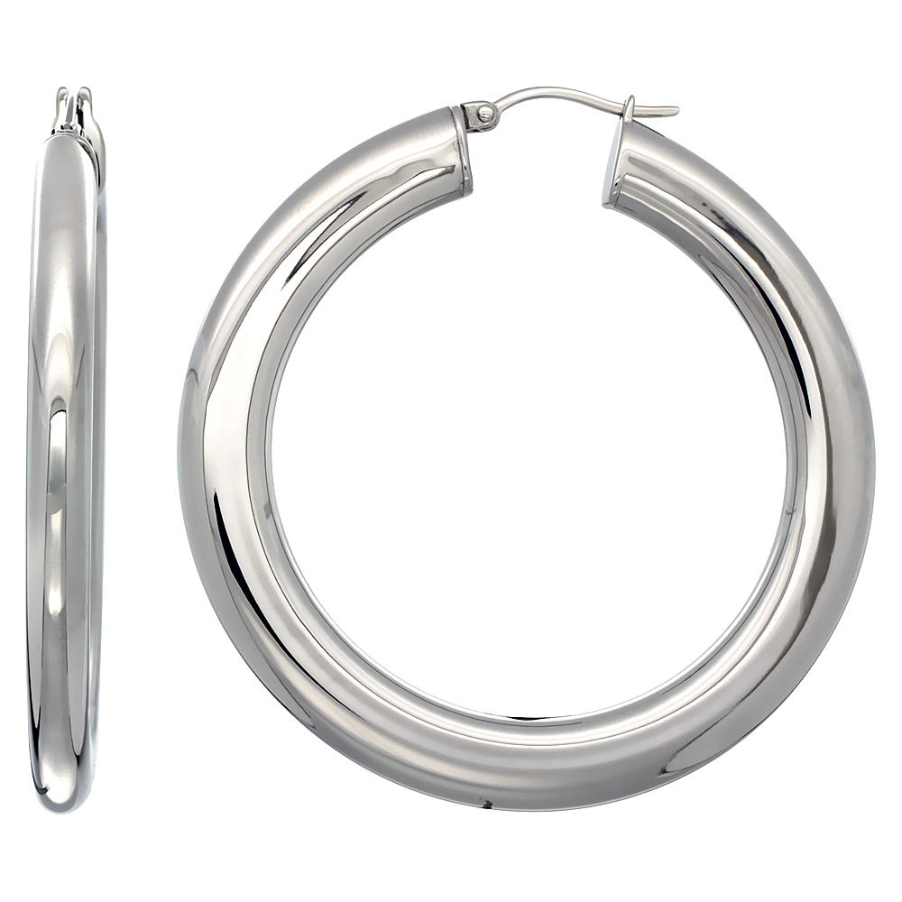 Stainless Steel Hoop Earrings 2 inch Polished 7 mm Fat Flat Tube Plain Light Weight