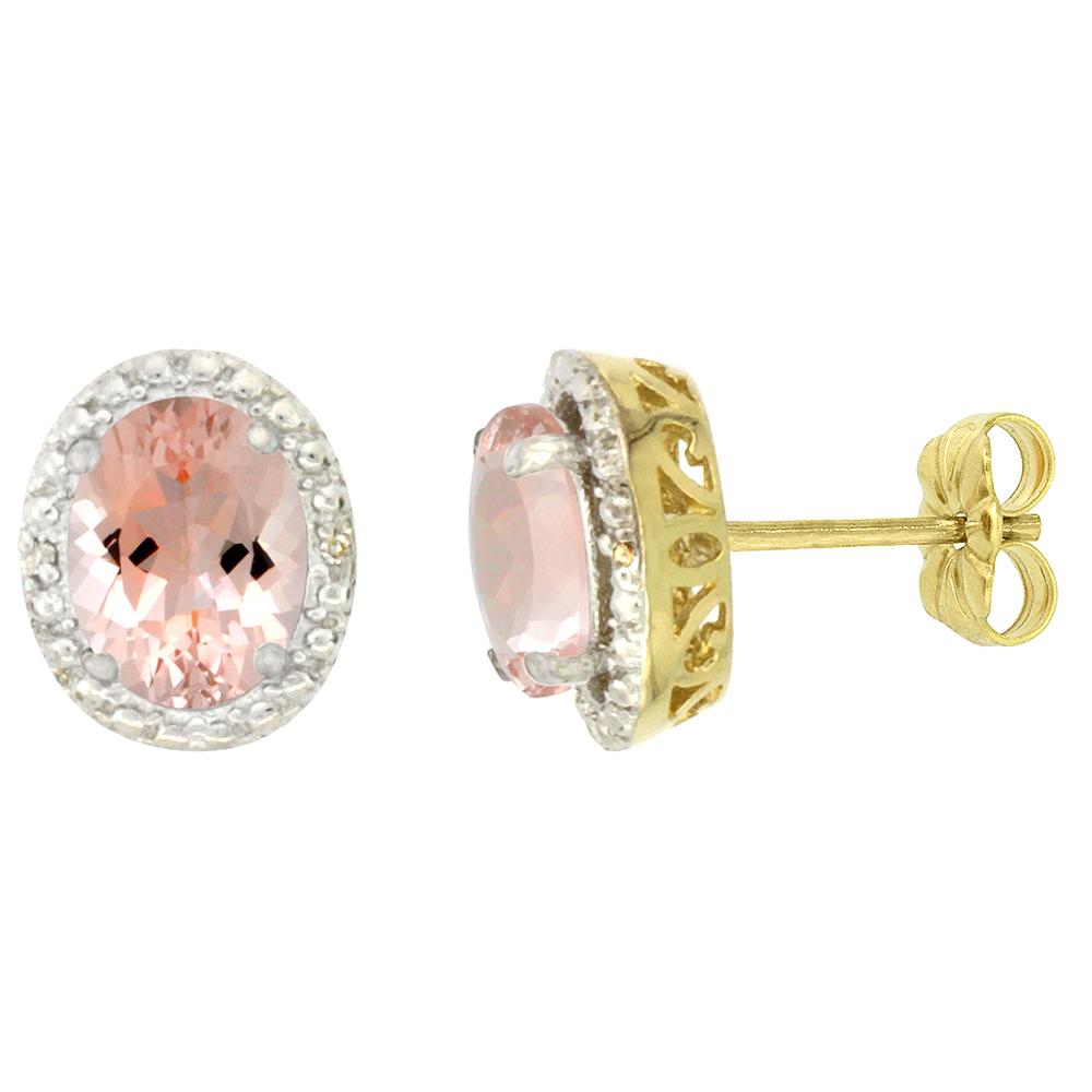 Sabrina Silver 10K Yellow Gold Diamond Natural Morganite Earrings Oval 7x5 mm at Sears.com