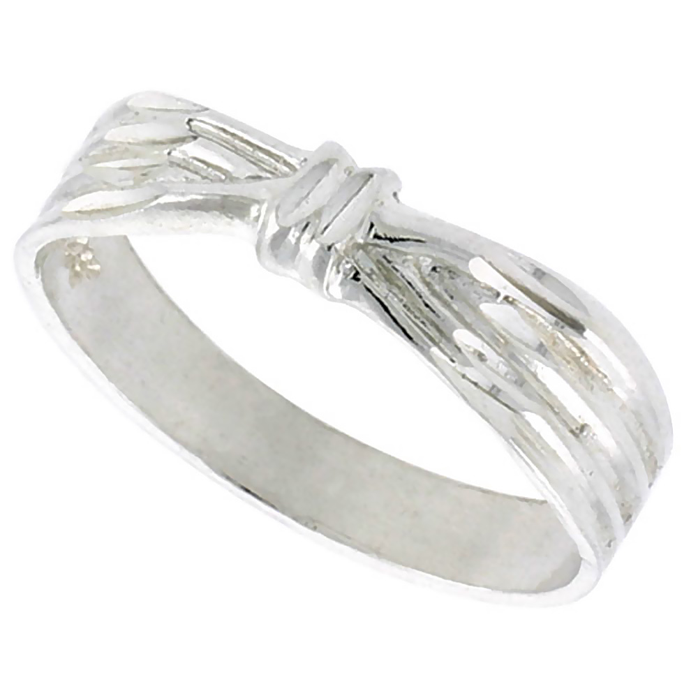 Sterling Silver Ribbon Ring Polished finish 3/16 inch wide, sizes 6 - 9