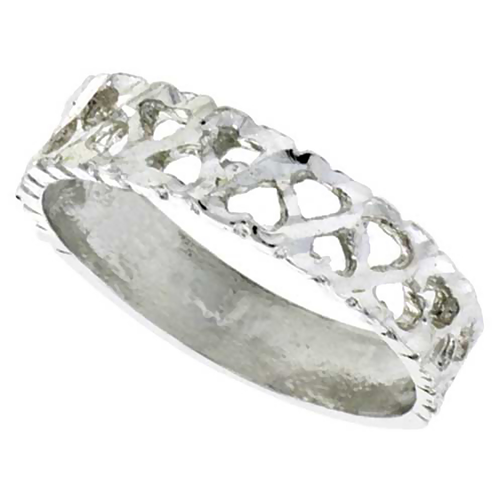 Sterling Silver Tiny Hearts Ring Polished finish 3/16 inch wide, sizes 6 - 9