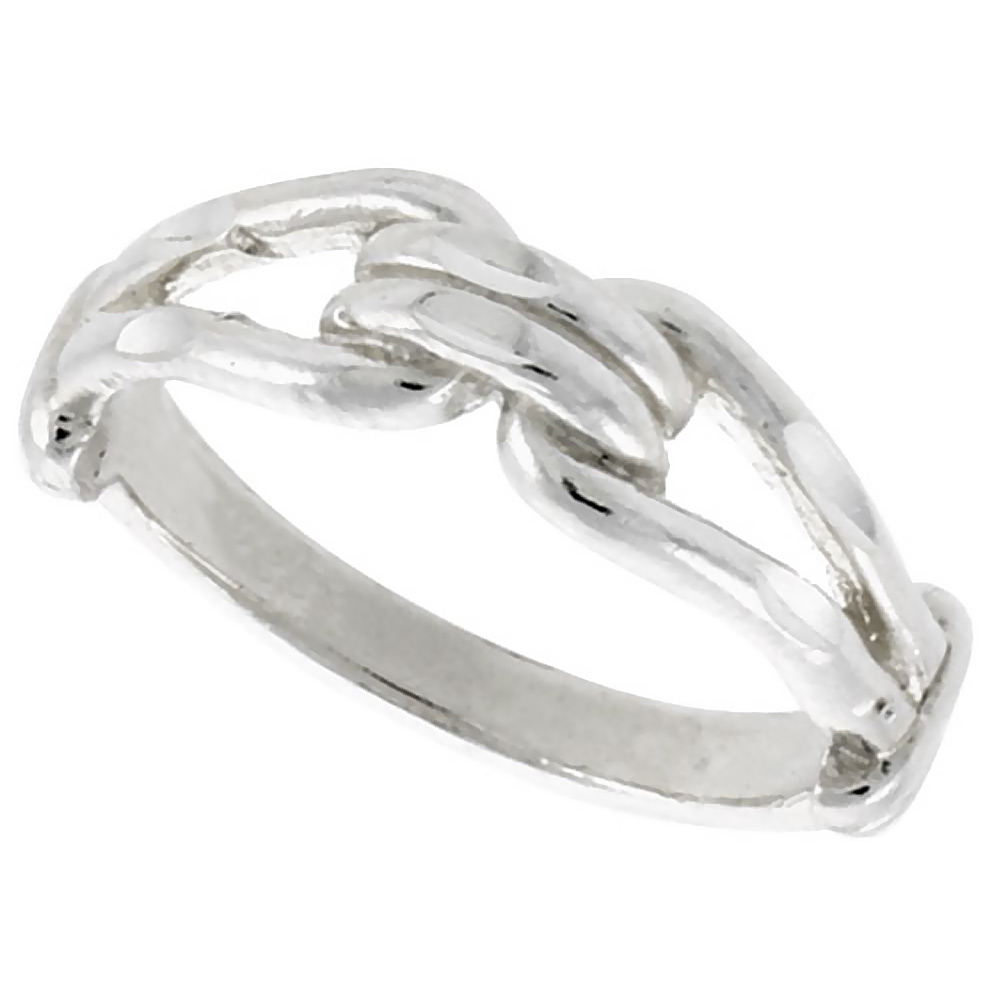 Sterling Silver Dainty Knot Ring Polished finish 3/16 inch wide, sizes 6 - 9