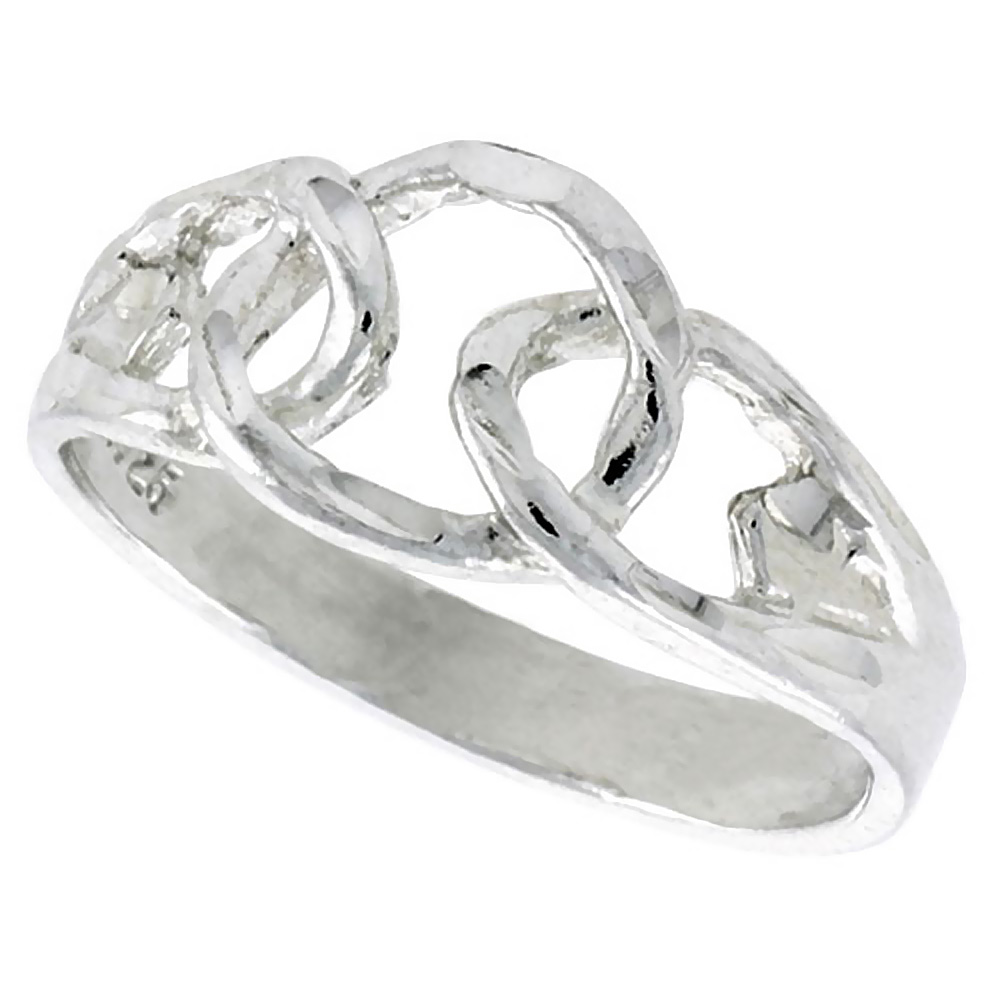 Sterling Silver Dainty Chain Link Ring Polished finish 3/8 inch wide, sizes 6 - 9