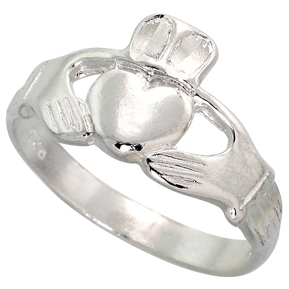 Sterling Silver Claddagh Ring for men and women 3/8 inch wide, sizes 5.5 - 10,