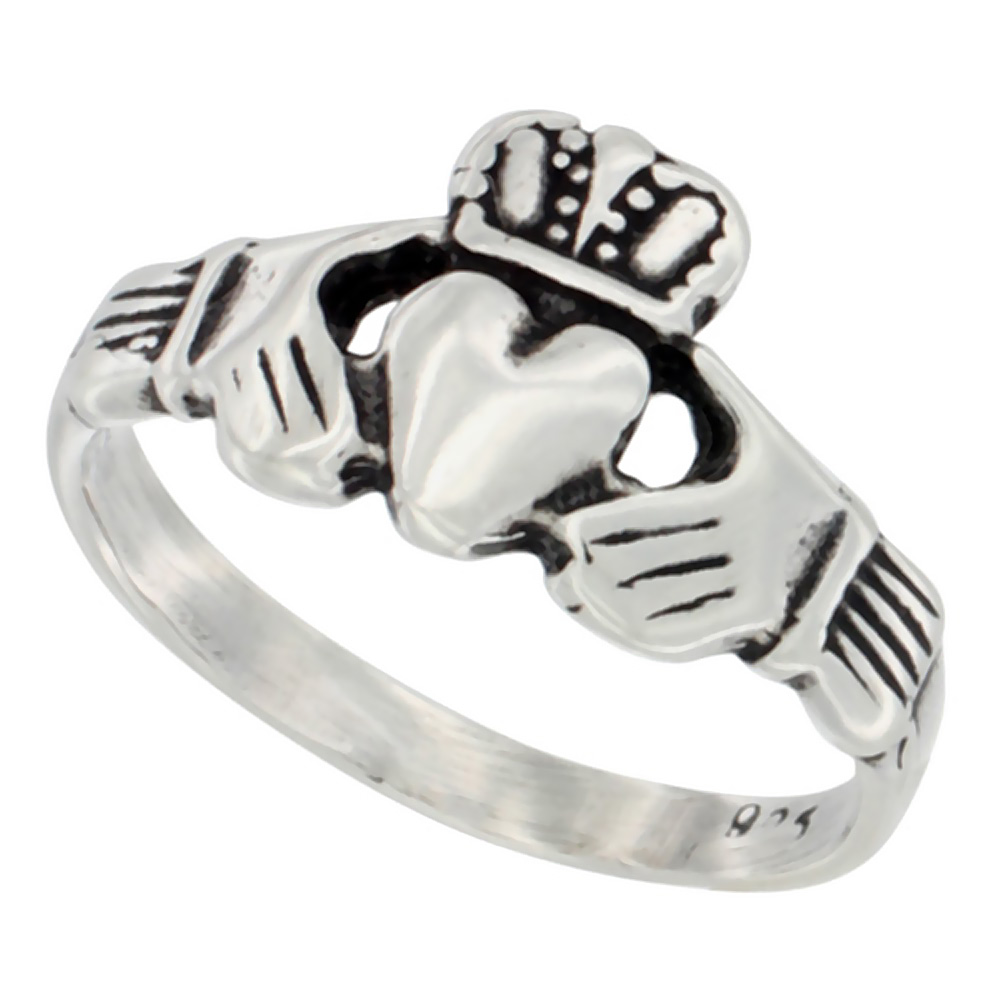 Sterling Silver Small Claddagh Ring antiqued finish 7/16 inch wide, sizes 4 - 9