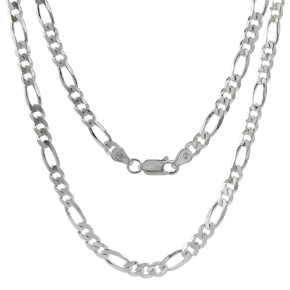 Sterling Silver Figaro Link Chain Necklaces & Bracelets 4.5mm Beveled Edges Nickel Free Italy, 7-30 in