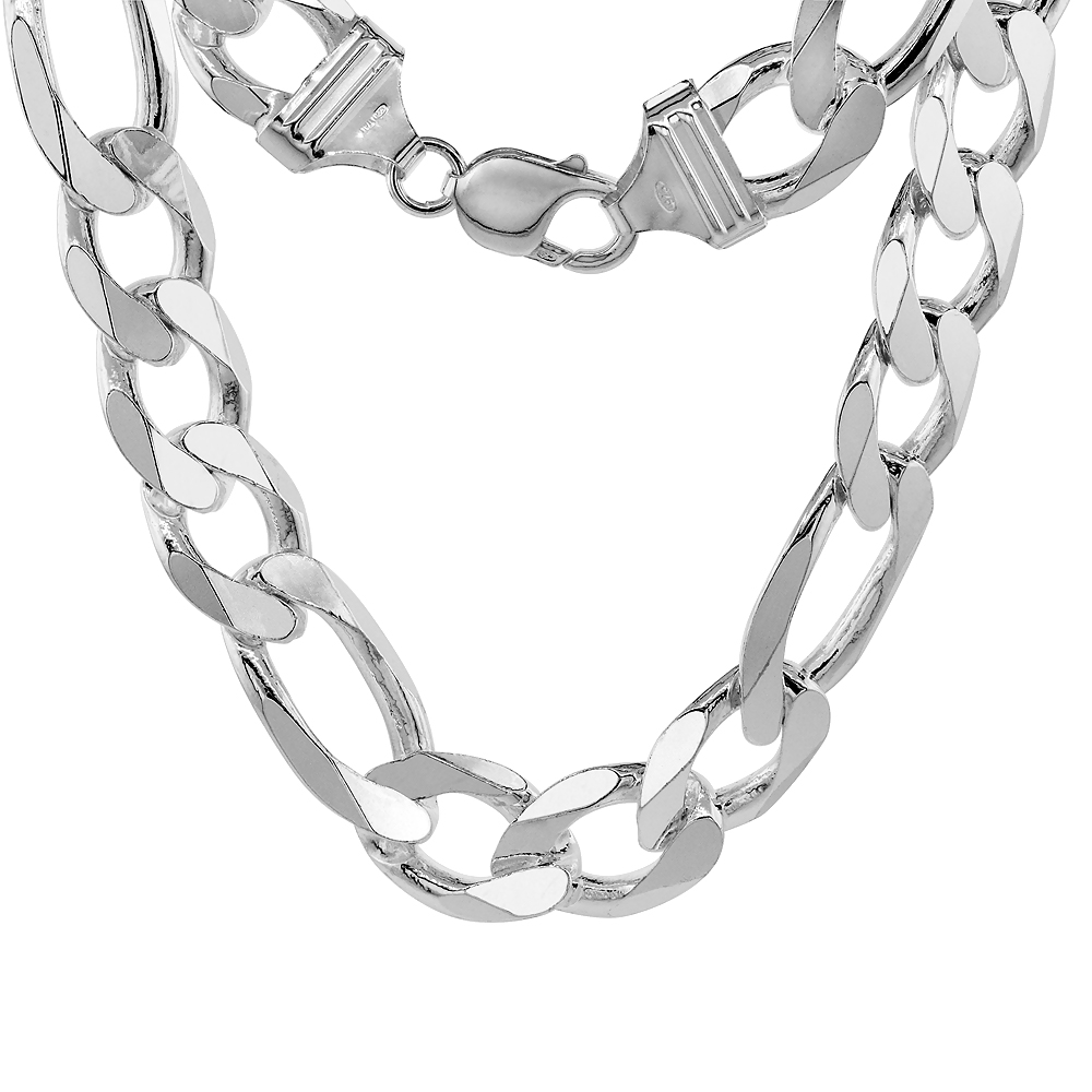 Sterling Silver Thick Figaro Link Chain Necklaces & Bracelets 15mm Beveled Nickel Free Italy, 8-30 inch