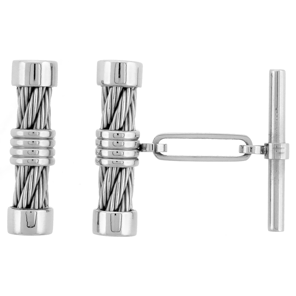 Stainless Steel Cable Cuff Links, 5/8 inch (16 mm) long