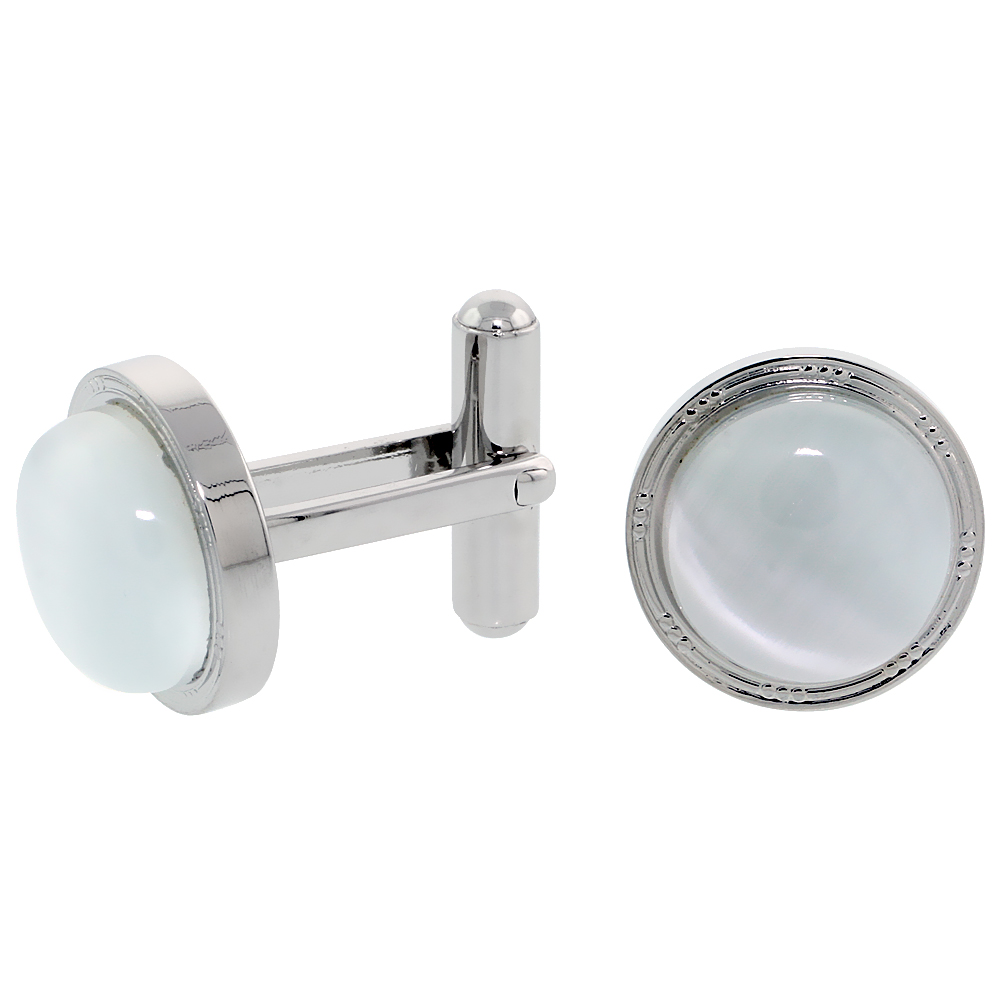Stainless Steel Cufflinks with Cabochon Moonstone, 5/8 inch (16 mm)