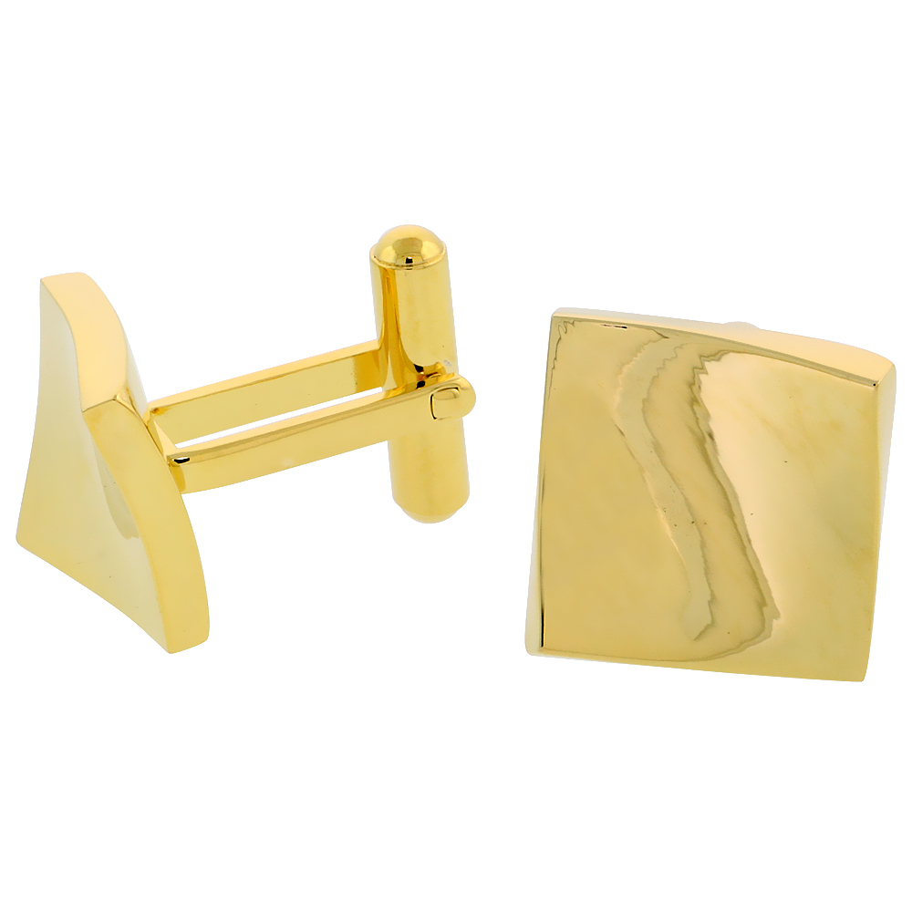 Stainless Steel Square Gold Plated Cufflinks with Flared Corners, 5/8 inch