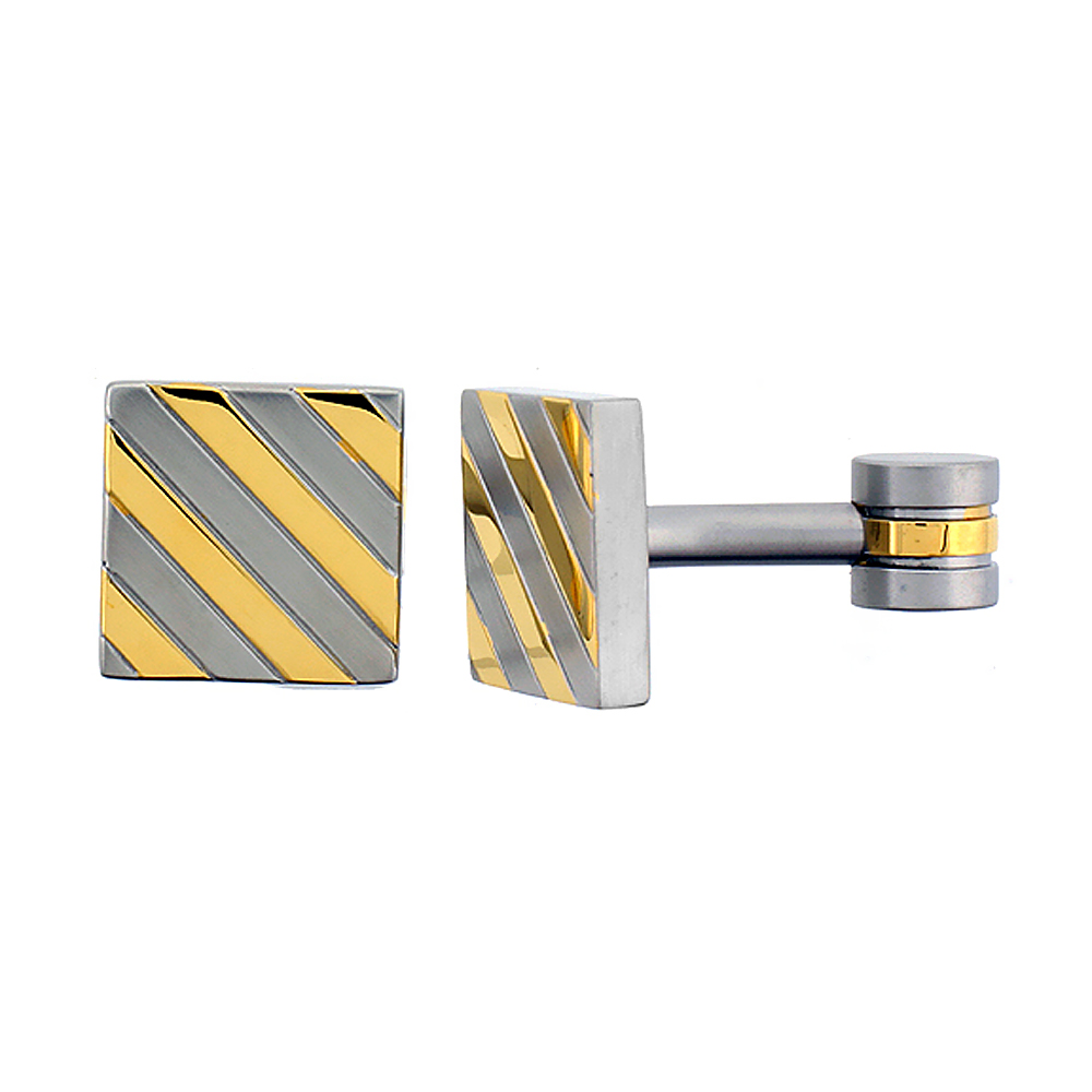 Stainless Steel Square Shape Cufflinks, with Gold Color Stripes