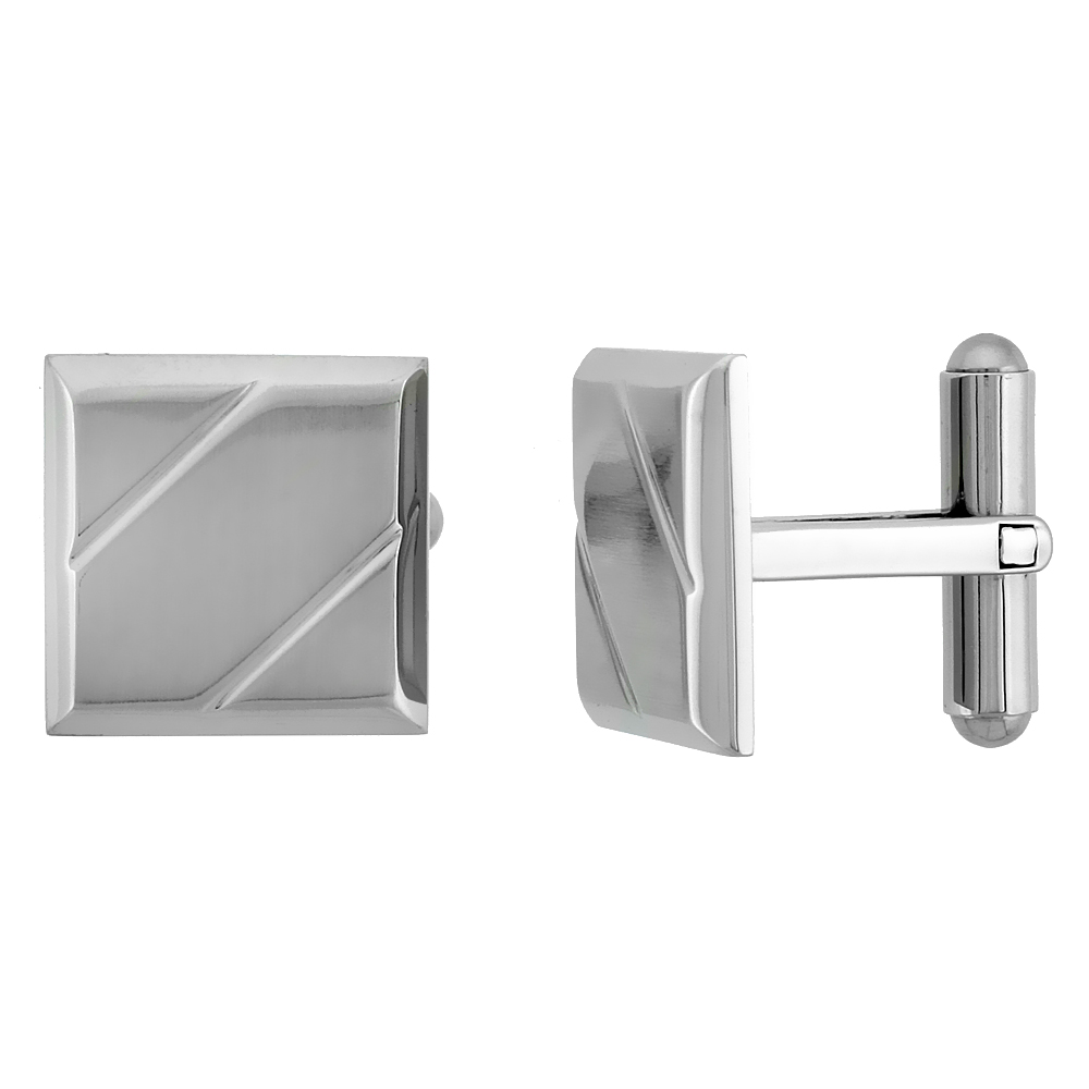 Stainless Steel Square Cufflinks with 2 Grooves 5/8 x 5/8 in.