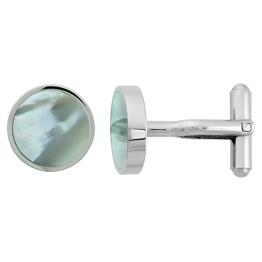 Stainless Steel Round Shape Cufflinks w/ Natural Mother of Pearl Inlay, 5/8 in.