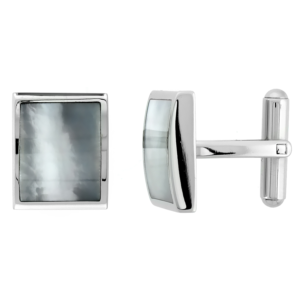Stainless Steel Rectangular Shape Cufflinks w/ Natural Mother of Pearl Inlay, 5/8 x 1/2 in.