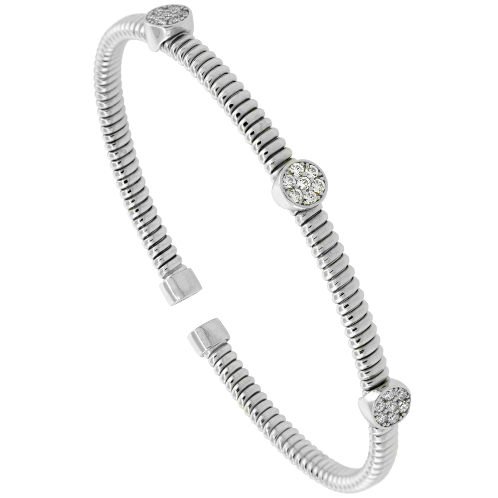 Sterling Silver Flexible Italian Small Cuff Round Station Bangle Cubic Zirconia Accents 2 inches wide, fits most 6 - 7 wrists