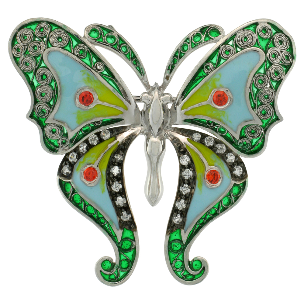 Sterling Silver Multi Color Enamel Butterfly Brooch, 1 1/2 in. (38 mm) tall